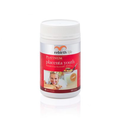 Rebirth Platinum Placenta Youth with Q10. Grape Seed & EPO 3,000 mg/ Size 60c (RL01)